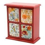 Flea Market 4-Drawer Distress Spice Box,Red