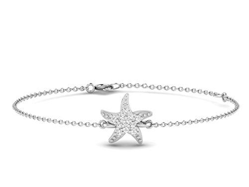 Or Blanc 9 ct Bracelet Diamant en forme de étoile de mer, 0.02 Ct Diamant, GH-SI, 1.32 grammes.