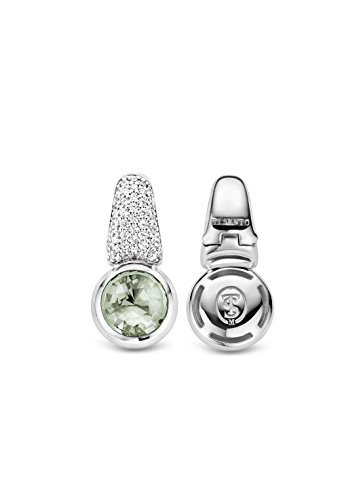 Ti Sento Milano femme  Argent 925/1000  Plaqué rhodium Argent|#Silver Rond   Vert Kristall Zirkonia FASHIONEARRING