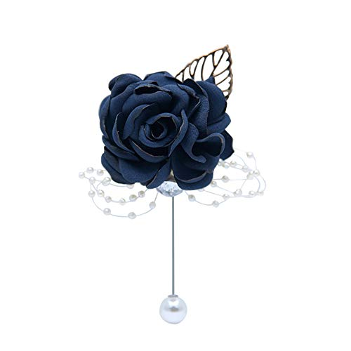 Huifany Boutonniere Bridegroom Groom Men's Boutonniere Boutineer with Pin for Wedding, Prom, Homecoming,Navy (Pack of 4) ()