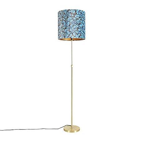 QAZQA Clásico/Antiguo Lámpara de pie dorada pantalla ...