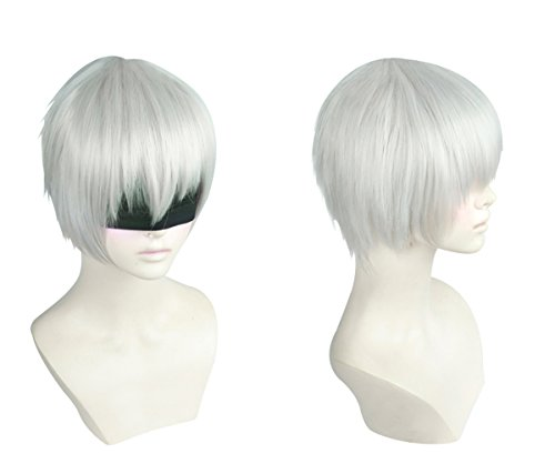 Cfalaicos Short Silver Gray Costume Hair Cosplay Wig (Eye Cover Not Included)