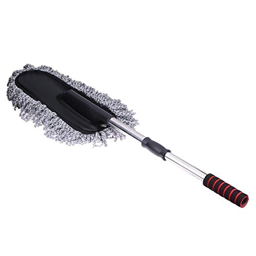 HMhome Car Cleaning Duster Microfiber Large Home Cars Wax Treated Plastic Handle Brush