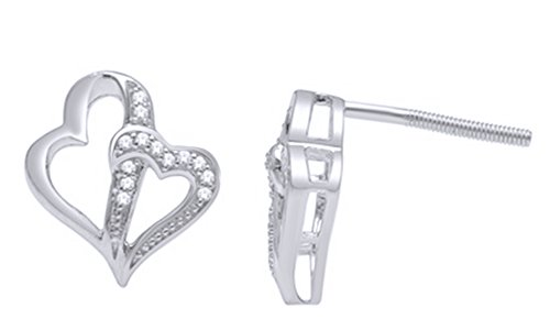 White Natural Diamond Accent Double Heart Stud Earrings In 14K White Gold Over Sterling Silver ()