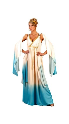 Fun World Greek Goddess Costume, Cream/Light blue, Small/Medium 2-8 ()