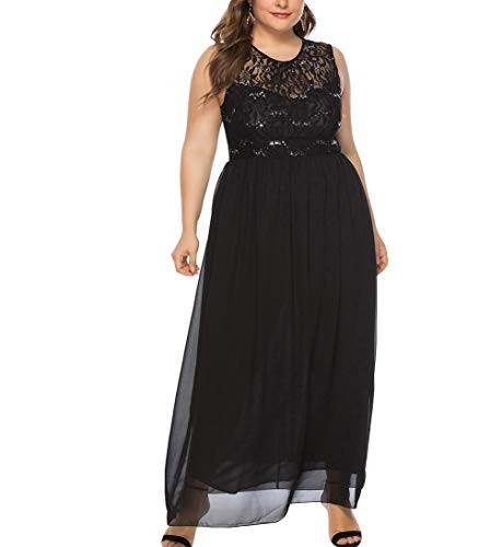 - Eternatastic Womens Lace Floral Plus Size Dress with Beading Trimmed 4XL Black