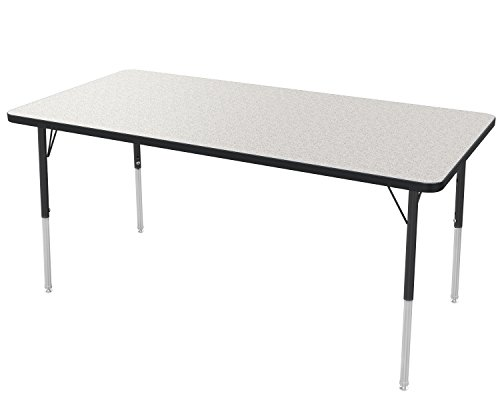 Marco Group 2200 Series Rectangle Activity Table with Swivel Glides,  Gray (Black Edge Legs)
