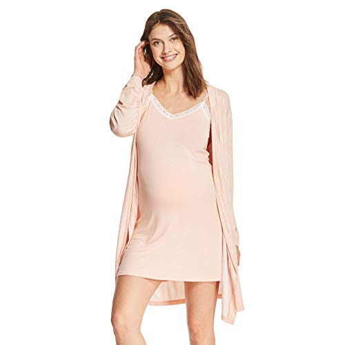 - LAMAZE Intimates Womens Maternity Nursing V-Neck Nightgown Matching Belted Robe Set Peach Medium