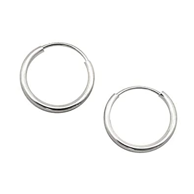 017795ca3 Amazon.com: 14k White Gold 1mm Endless Hoop Earrings, 10mm (3/8 ...