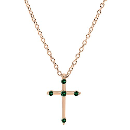 (Dazzlingrock Collection 14K Round Lab Created Emerald Ladies Cross Pendant (Gold Chain Included), Rose Gold)