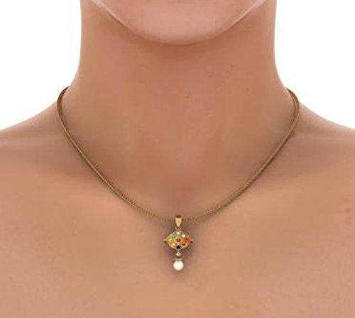 Or jaune 18K 0,06CT TW Round-cut-diamond (IJ   SI) et Navaratna et blanc perle Pendentif