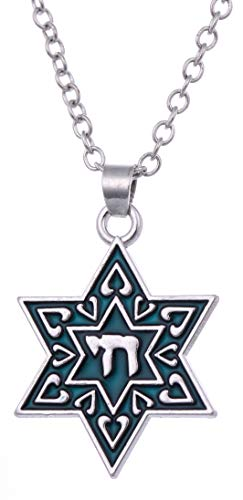 (Enamel Jewish Star of David Chai for Life Necklace Pendant Necklace Talisman)