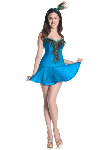 Peacock Teen Costumes (Mystery House Costumes Teen Peacock, Blue, Small)