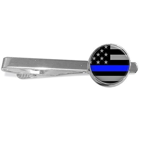 Thin Blue Line Stars Tie Clip - Handmade Silver Plated 16mm by Southern Style Handmade Gifts