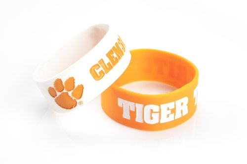 College Bracelets - NCAA Clemson Tigers Silicone Rubber Bracelet, 2-Pack