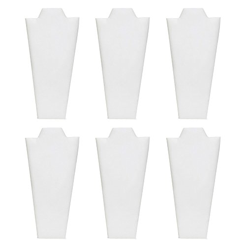 Mooca 6 Pieces White Faux Leather MDF Wood with Cardboard Easel Necklace Display 4 1/4
