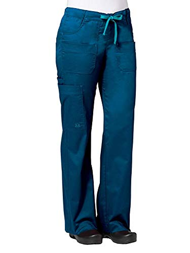 Cotton Trousers Bootcut (Maevn Women's Utility Cargo Pants(Caribbean Blue/Teal Blue, Small Tall))
