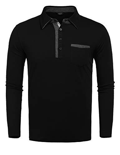 COOFANDY Mens Regular Fit Cotton Polo Shirt Casual Long Sleeve T Shirts