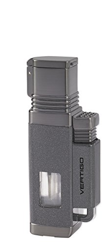 NEW VERTIGO by LOTUS CHURCHILL FOUR WIND RESISTANT TORCH FLAMES CIGAR/CIGARETTE LIGHTER WITH CIGAR PUNCH - METALLIC GRAY & GUNMETAL