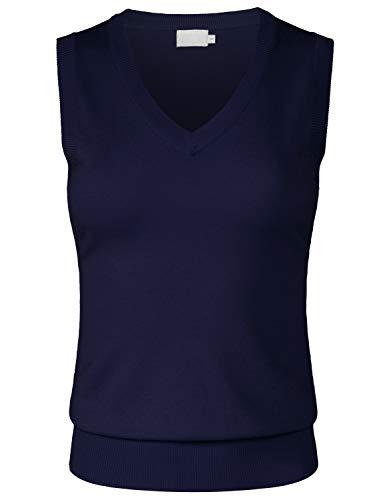 (JSCEND Women's Solid Basic V-Neck Sleeveless Soft Stretch Pullover Sweater Vest Top Navy L)