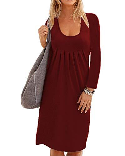 Midosoo Des Femmes De Manches Longues Coupe-bas Solide Vin Rouge Robe Midi Décontracté Plissé Plaine