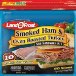 LAND O' FROST SUB SANDWICH KIT LUNCH MEAT COLD CUTS SMOKED HAM & OVEN ROASTED TURKEY 20 OZ PACK OF - Smoked Turkey Ham