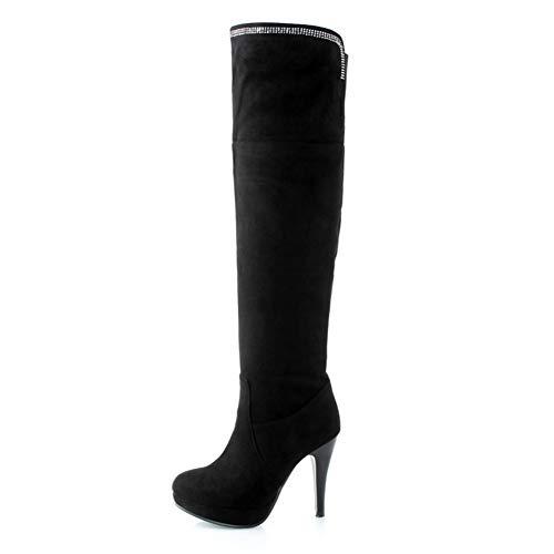 Grande 32 Hoesczs En Femmes Femme 2018 Black Hauts Gros Chaussures Au Genou Rétro Bottes Plateforme Talons Taille 43 y8wvmnO0N
