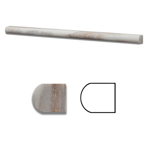 Calacatta Gold Marble Honed 1/2 X 12 Pencil Liner Trim Molding - Standard Quality - BOX of 15 PCS.