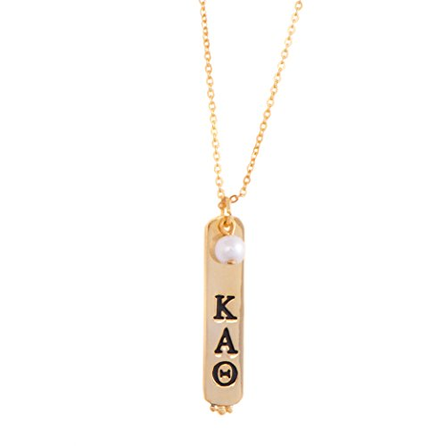 Kappa Alpha Theta Sorority Vertical Bar Necklace 24k Gold Plated with Fake Pearl Kappa Alpha Theta Merchandise
