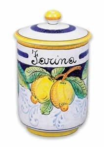 - Hand Painted Italian Ceramic Frutta Flour Canister - Handmade in Deruta