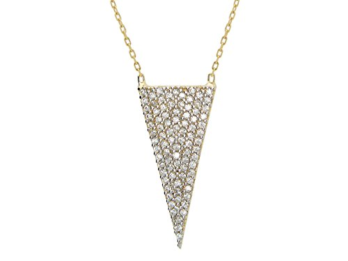 - Fronay Co .925 Sterling Silver Brilliant Cubic Zirconia Triangle Pendant Necklace dipped in Gold