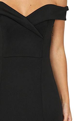 Partie De Séparation Côté Épaule Femmes Amstt Robe De Robe De Soirée Mince Maxi De Soirée Noire