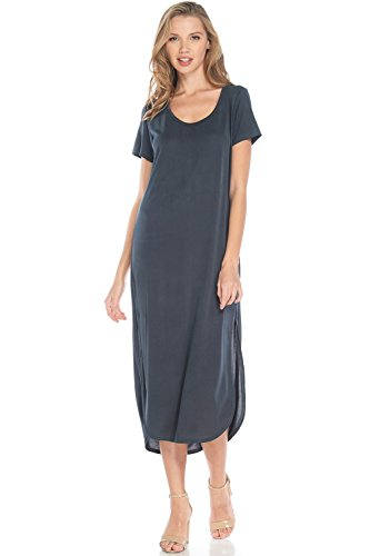 Alexander + David A+D Womens Casual Scoop Nk Matte Knit Midi Dress w/Bk Drape (Charcoal, Small) ()