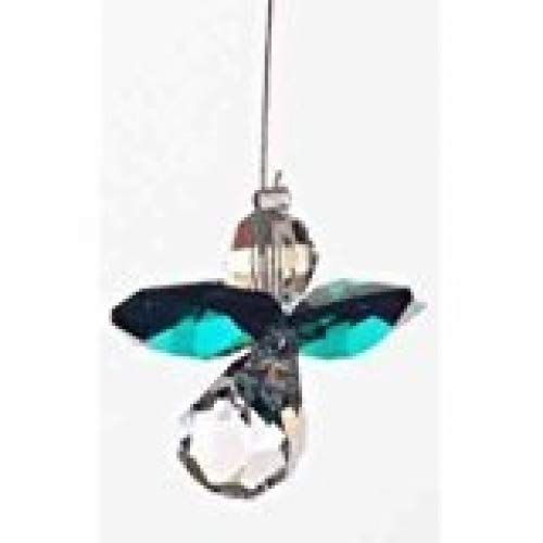 Emblems-Gifts Hanging Crystal Guardian Angel Birthstone Suncatcher - Made Using Swarovski Crystals - MAY - EMERALD