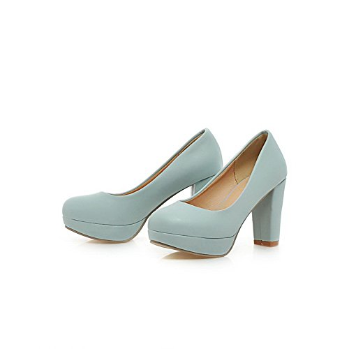 BalaMasa da donna a punta rotonda Pull-On high-heels morbido materiale pumps-shoes, Blu (Blue), 35