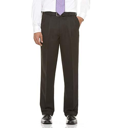 Savane Mens Comfort Waist Microfiber Performance Pleated Dress Pant, Black (34 x 29) -