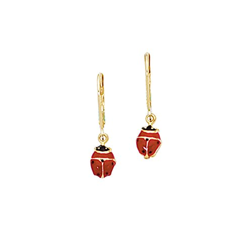 Finejewelers 14 Kt Yellow Gold Red Black Ladybug Leverback Earring 14k Yellow Gold Ladybug Earring