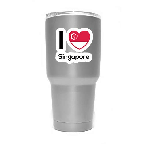 Love Singapore Flag Decal Sticker Home Pride Travel Car Truck Van Bumper Window Laptop Cup Wall - Two 3 Inch Decals - MKS0292