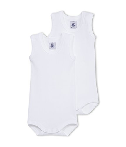 Petit Bateau Baby Boy's Sleeveless Onesie Duo Style 15083 Sizes 3-36 Months (Size 12 Months Style 15083 Baby Boys) White