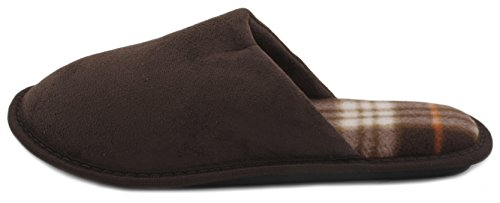 Mule Faux Mens Brown Back Check Slipper Suede Open Slumberzzz Lining 4q0TT