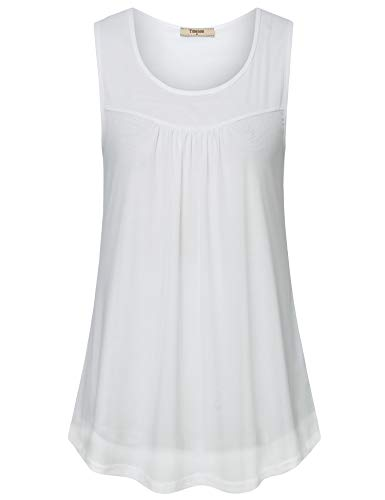 Timeson Business Shirts for Women, Women's Sleeveless Work Blouse Casual Business Office Wear Scoop Neck Floral Tunics Tops Double Layers Pleated Mesh Tank Tops for Summer White X-Large
