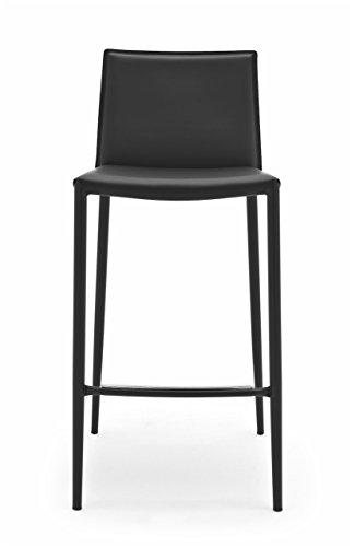Connubia Boheme Stool - Steel Stained Matt Black Frame - Regenerated Leather Black Seat