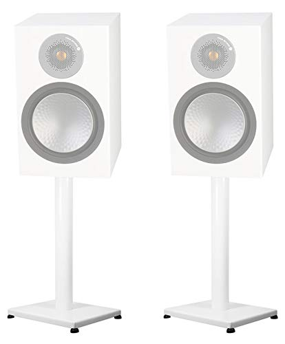 White 29 Steel Stands For Monitor Audio Silver 100 Bookshelf Speakers