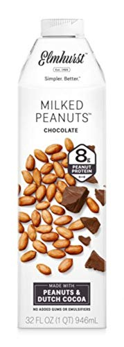 Gluten Emulsifier Free (Elmhurst Milked - Chocolate Peanut Milk - 32 Fluid Ounces (Pack of 4). Only 6 Ingredients, 8g Protein, Non Dairy, No Added Gums or Emulsifiers, Vegan)