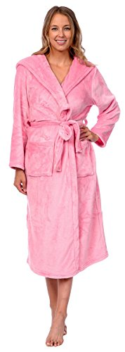 Patricia Women's Premium Soft Plush Robe Full Length with Hood (Prism Pink, Large/X-Large)