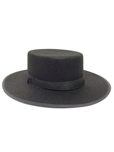 [Black Spanish Hat Zorro Costume Accessory Wool Felt Prop Adult Vendetta Gaucho] (Zorro Hat)