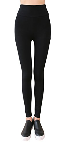 IRELIA Winter Womens Cotton Warm Thick High Waisted Leggings Long Pants Black XL(Long)