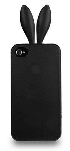 Horny Protectors 1860 Hasenohren Rubber Bunny TPU-Schutzhülle für Apple iPhone 4/4S schwarz