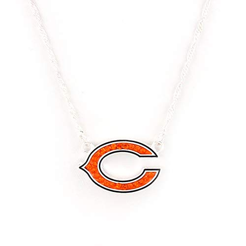 - Drop of Silver NFL Football Chicago Bears Crystal Logo Necklace in Orange and Black