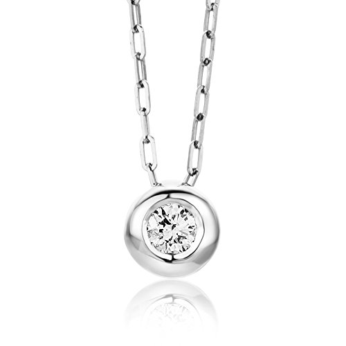 Miore - Collier Femme - Or blanc 750/1000 (18 carats) 2.75 gr - Diamant 0.1 cts